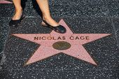 Los Angeles,ca-july 2,2011:nicolas Cage's  Star In The Hollywood Walk Of Fame,los Angeles,july 2,201