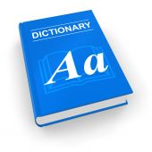 stock photo of pronunciation  - Blue dictionary book isolated over white background - JPG