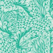 Seamless Floral Vintage Blue Doodle Pattern With Spirals
