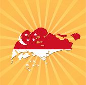 Singapore map flag on sunburst vector illustration