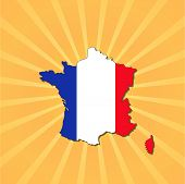 France map flag on sunburst vector illustration