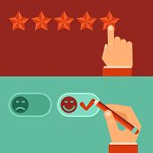 picture of positive negative  - Vector customer review concepts in flat style  - JPG