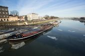 KRAKOW, POLAND - FEB 5, 2014: View of the Vistula River in the historic city center. Vistula is the