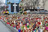 Candles In Honor Of Those Killed In The Maidan In Kiev Lit On The Maidan In Lvov