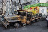 Burned Truck In The Center Of Kiev
