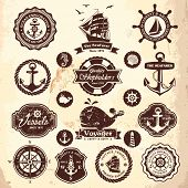 stock photo of old boat  - Collection of vintage retro nautical labels - JPG