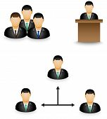 Set Of Businessman Dummy Icons In Group Activity