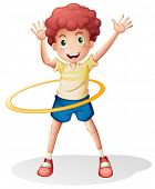 foto of hulahoop  - Illustration of a young boy playing with the hulahoop on a white background - JPG