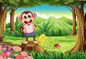 Illustration of a smiling monkey above the stump with bananas at the back