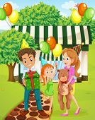Illustration of a happy family celebrating outside the house