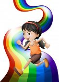 Illustration of a rainbow with a young woman running on a white background