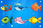 Illustration of the six colorful and smiling fishes under the sea