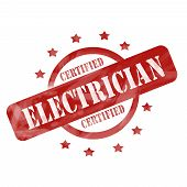 Red Weathered Cerfified Electrician Stamp Circle And Stars Design