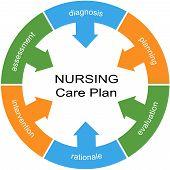 Nursing Care Plan Word Circle White Center Concept