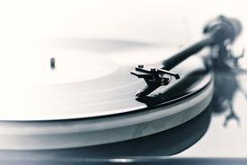 stock photo of lp  - Detail of a modern vinyl record player  - JPG