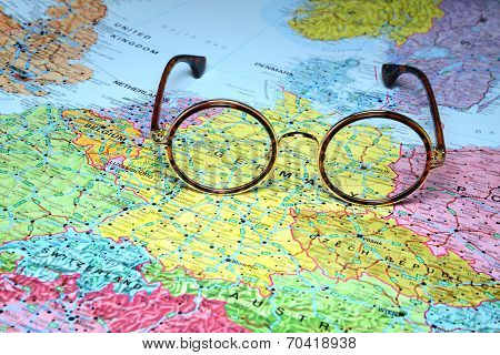 Glasses on a map of europe - Berlin poster