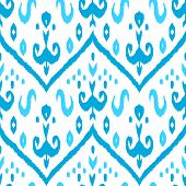 Ikat middle east traditional silk fabric seamless pattern in blue and white, vector