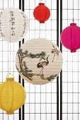 Paper lanterns hanging against paper screen