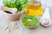 Pesto, Typically Sicilian Sauce Made ??with Basil Fresh