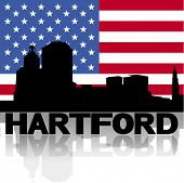 Hartford skyline and text reflected with American flag vector illustration