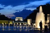 Washington DC - World War II Memorial and Lincoln Memorial at night