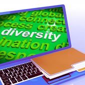 Diversity Word Cloud Laptop Shows Multicultural Diverse Culture