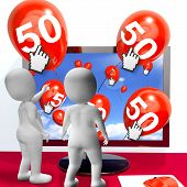 Number 50 Balloons From Monitor Show Internet Invitation Or Celebration