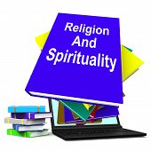 Religion And Spirituality Book Laptop Stack Shows Religious Spiritual Books