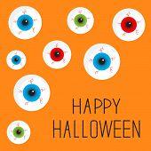 Eyeball Set With Bloody Streaks. Happy Halloween Card. Flat Design Style.