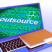 Outsource Word Cloud Laptop Shows Subcontract And Freelance
