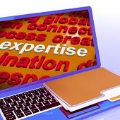 Expertise Word Cloud Laptop Shows Skills Proficiency And Capabilities