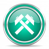 mining green glossy web icon