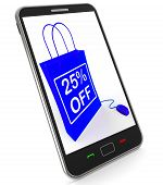 Twenty-five Percent Off Phone Shows Reductions In Price