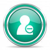 remove contact green glossy web icon