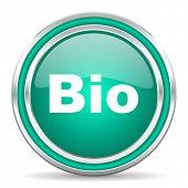 bio green glossy web icon