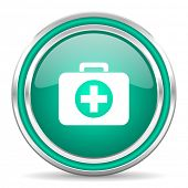 first aid green glossy web icon