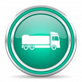 truck green glossy web icon