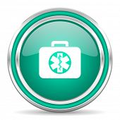 rescue kit green glossy web icon