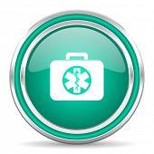 rescue kit green glossy web icon