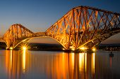 The Forth rail bridge at dawn