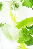 Icy Background Macro Drink Ice Cubes Mint Limes