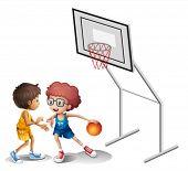 Illustration of two boys playing basketball