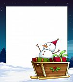 Illustration of a banner with a snowman