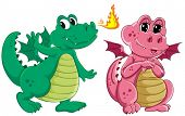 Illustration of green and pink dragons
