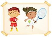 Illustration of a sport boy and girl