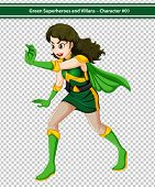 Illustration of a female superhero in action