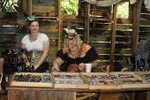 MUSKOGEE, OK - MAY 24: Woman dressed in vintage clothes makes jewelry at the Oklahoma 19th annual Re