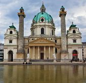 VIENNA, AUSTRIA - SEPTEMBER 26, 2013: The famous Church of St. Charles Borromeo in the Baroque style