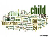 Vector eps concept or conceptual child education abstract word cloud on white background