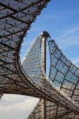 Munich, Germany - September 5, 2010: Detail of the pavillon-roof construction at the Olympic Stadium